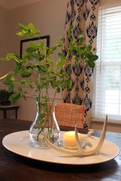 Table Centerpiece for breakfast table  change greenry with plants from the yard.