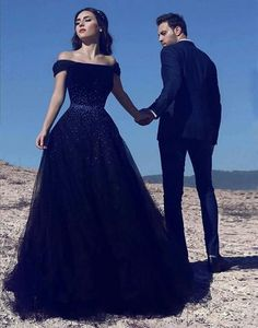Navy blue tulle long prom dress, off shoulder evening dress sequins prom gowns ,HS010  #moddress #promdress #eveningdresses #prom #fashion #shopping #dresses