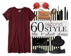 """t-shirt dress"" by kathrynesker on Polyvore featuring Converse, Hollister Co., Recover, Giorgio Armani, Marc Jacobs, Vintage, Christian Dior, tshirtdresses and 60secondstyle"