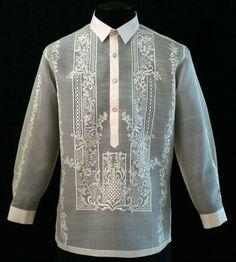 Raya Barong Tagalog - Barongs R us Barong Tagalog Wedding, Filipino Fashion, Philippine Fashion, Filipiniana Dress, Groom Shirts, Groom And Groomsmen Attire, Groom Wear, Suit Up, Men With Street Style
