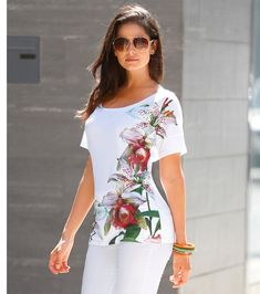 Camiseta mujer manga corta con estampado floral Moda Mujer 10 Venca