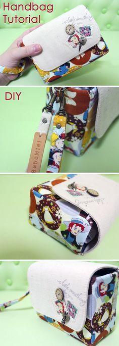 How to sew handbag with hand strap. Picture Tutorial. Сумочка на ремешке. http://www.handmadiya.com/2015/09/a-small-bag-with-hand-strap-tutorial.html