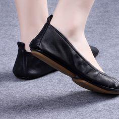 ccbef52da8f Genuine Leather Foldable Ballet Flats
