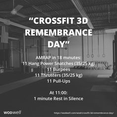 """CrossFit 3D Remembrance Day"" WOD - AMRAP in 18 minutes: 11 Hang Power Snatches (35/25 kg)"
