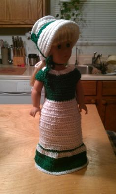 Beautiful Green and White gown with Bonnet