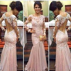 P54 lace long sleeve evening dresses, top selling mermaid prom dress, pink chiffon prom dresses