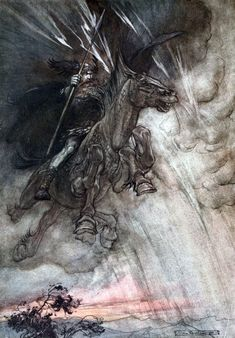 """""""Raging, Wotan / Rides to the rock! / Like a storm wind he comes!"""" (1910), lithograph by Arthur Rackham (1867-1939) [published in The Rhinegold & The Valkyrie, frontispiece], from Act 3, Scene 1, of Die Walküre (1856), by Richard Wagner (1813-1883)."""