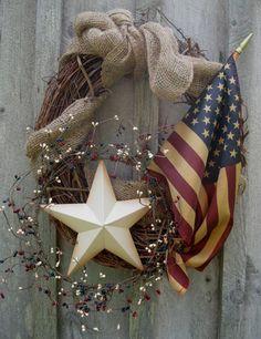 americana country wreath, I like the idea but with a more Beach feel