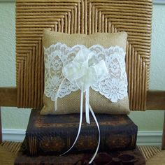 Burlap and lace ring bearer pillowrustic by KelleysCollections