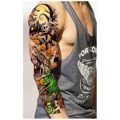 3pcs Waterproof Temporary Tattoos Sleeve Body Art Men Women Colorful Fake Tattoo Paper Tattoo Sticker Arm Stockings Sex Products