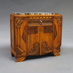 Art Deco Carved and Inlaid Oak Marble-top Sideboard