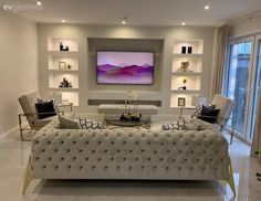 Modern Style Gets Attractive Touches In This House Living Room Wall Units, Home Living Room, Living Room Decor, Home Room Design, Living Room Designs, House Design, Sofa Design, Interior Design, Tv Wanddekor