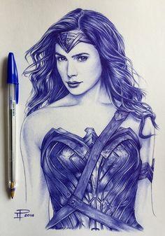 Gal Gadot - Wonder Woman by tagalanggas on DeviantArt Biro Art, Ballpoint Pen Drawing, Dark Art Drawings, Ink Pen Drawings, Pen Sketch, Art Sketches, Ballpen Drawing, Wonder Woman Art, Pen Illustration