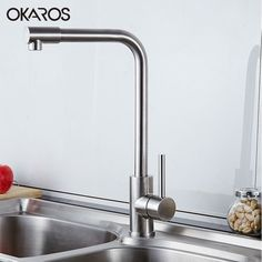 OKAROS Nickel Brushed 304 Stainless Steel Kitchen Sink Faucet Deck Mounted Basin Tap Cold&hot Water Rotation Mixer Torneira  #Affiliate