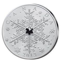 Kanada Silbermünze mit schwarzem Svarovski-Element in der Mitte einer Schneeflocke... RAR!