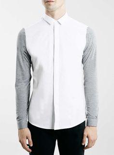 Grey Contrast Long Sleeve Smart Shirt