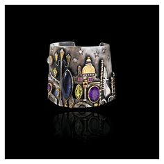 "Linda Ladurner: Cuff ""Venice"" 2009. Silver, gold, labradorite, amethyst, ruby, moonstone, peridot, diamonds. Bracelet- manchette ""Venise"" argent, or, labradorite, rubis, améthyste, péridot, pierre de lune. Santa Maria della Salute, Leone di san Marco, ponte Rialto..."
