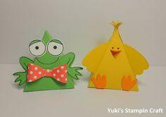 スタンピンアップ Thinlitsダイ・ピラミッドパルとプレイフルパル・スタンプセットでカエルちゃんとピヨコちゃん! Floggy and baby chick using Thinlits Pyramid Pals die & Playful Pals stamp set, Stampin' Up!