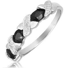$19.99 - ½ Carat Sapphire Diamond Accent Criss Cross Design Ring