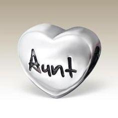 Aunt Heart Charm Bead - Pandora Compatible