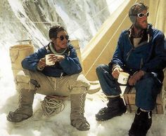 EVEREST ¥ Tenzing and Hillary enjoy a hot drink at camp after climbing Mount Everest, May 1953.