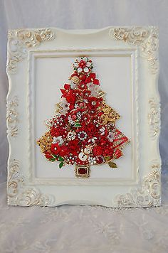 vintage jewelry framed Christmas tree * cheerful red/santa/reindeer/lots of fun!