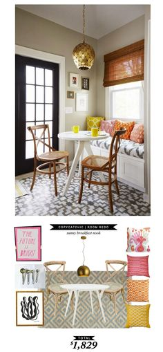 #copycatchicroomredo by @Chelsea Horsley | Yours Truly | A Sunny Breakfast Nook for only $1560
