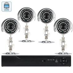 4 Camera DVR Surveillance Kit SecureView II - 4 Channel DVR 4 Outdoor Cameras Remote Viewing