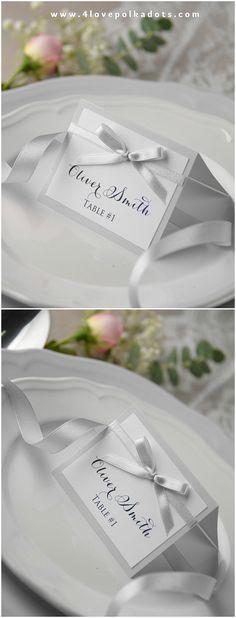Silver & White Wedding Place Card #elegant #placecard #tablecard #weddingstationery #weddingideas