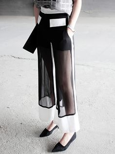 black wide trousers contrast sheer panels