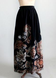 Vintage 1970s Floral Velvet Maxi Skirt | Raleigh Vintage