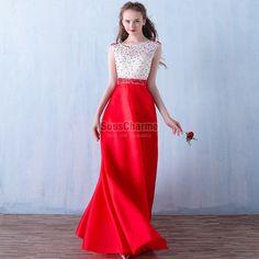 robe de soirée rouge longue en satin et dentelle blanche à perles