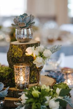 mercury glass + moss, photo by Ann-Kathrin Koch http://ruffledblog.com/english-cotswolds-wedding #centerpieces #woodland