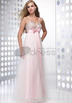 Long Evening Dresses-Graceful A-Line Sweetheart Floor-Length Satin Tulle Long Evening Dresses