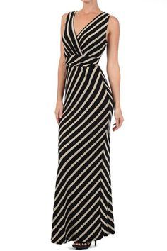 Regular $44.95 Striped, full length ruched sleeveless V-neck dress with waist tie.