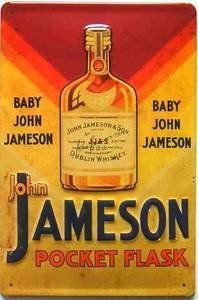 """John Jameson Pocket Flask embossed steel sign (hi2030pt) by signs-unique. $29.95. High quality steel wall sign - deep embossment and deeply convex in section - stiff and strong with top quality printing  New replica of an old advertising sign   NOT a thin, flexible sign  300mm x 200mm (12"""" x 8"""")  Pre-drilled for fixing"""