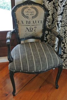 French Grainsack Chair by ChairWhimsy on Etsy, $400.00 would like for desk in office or in bedroom #ChairMakeover #ChairForBedroom