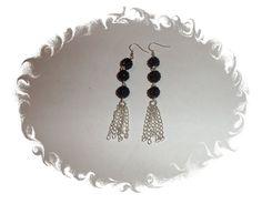 Black Shamballa Rhinestone Pave Chain Dangle by DesignsByCherrae #rhinestoneearrings  #paveearrings #earrings #jewelry #giftsforher #blackearrings #dangaleearrings #chainearrings #shamballaearrings