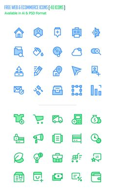 Free Web and eCommerce Icons (40 Icons Available in Ai & PSD) #androidicons…