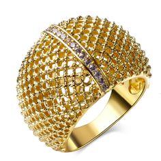Mới thời trang Phụ Nữ Nhẫn vàng/rhodium plated với trắng CZ nhẫn cưới party nhẫn thời trang jewelry Miễn Phí Vận Chuyển kích thước Đầy Đủ vòng