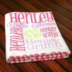Personalized Baby Blanket  Monogrammed Baby by monogrammarketplace actual link not link to blog