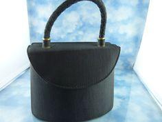Black Mid-Century Black Fabric Box Style Evening Purse