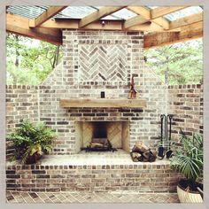 Custom brick outdoor fireplace
