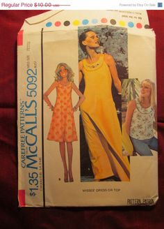 SALE Uncut 1970's McCall's Sewing Pattern 5092 by EarthToMarrs, $7.50