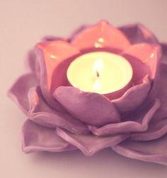 DIY gorgoeous lotus candle holders with air drying clay // Lótuszvirág alakú mécsestartók levegőn száradó gyurmával // Mindy - craft tutorial collection //