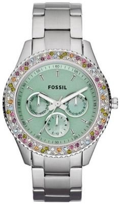 Fossil Stella Stainless Steel Watch Fossil. $82.00. Condition:brand new with tags. Model: ES3051. Band color: silver. Brand:Fossil. Dial color: mint green. Save 29% Off!
