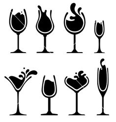Silhouette of wine glass with splash vector by valru - Image ...