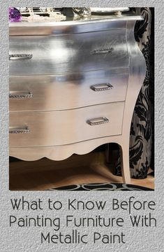How to Paint Glamorous Furniture with Metallic Paint. Vintage table painted furniture makeover using silver metallic furniture paint. Furniture Projects, Furniture Making, Furniture Makeover, Home Projects, Diy Furniture, Metallic Furniture, Silver Painted Furniture, Spray Paint Furniture, Modern Furniture