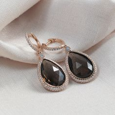 Smokey Quartz and Pave Set Diamond Earrings in Rose Gold