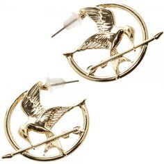 The Hunger Games Mockingjay Zinc Alloy Gold Color Hoop Earrings